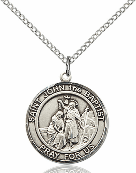St John the Baptist Medium Patron Saint Pewter Medal by Bliss