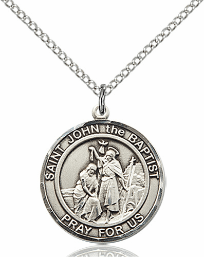 St John the Baptist Medium Patron Saint Sterling Silver Medal by Bliss