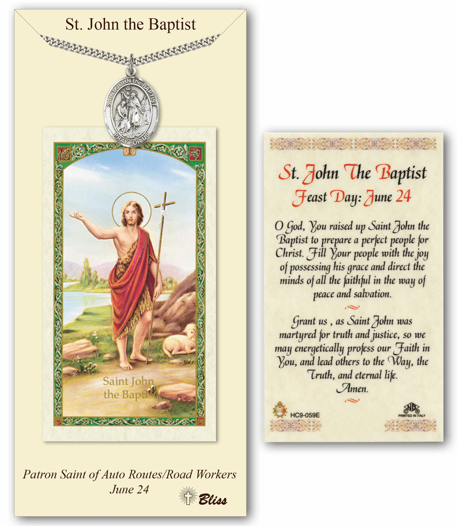 Bliss Mfg St John the Baptist Prayer Card & Pendant Set