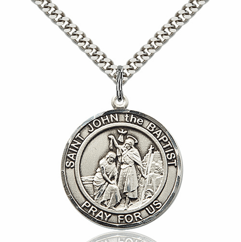 St John the Baptist Round Patron Saint Medal Necklace by Bliss