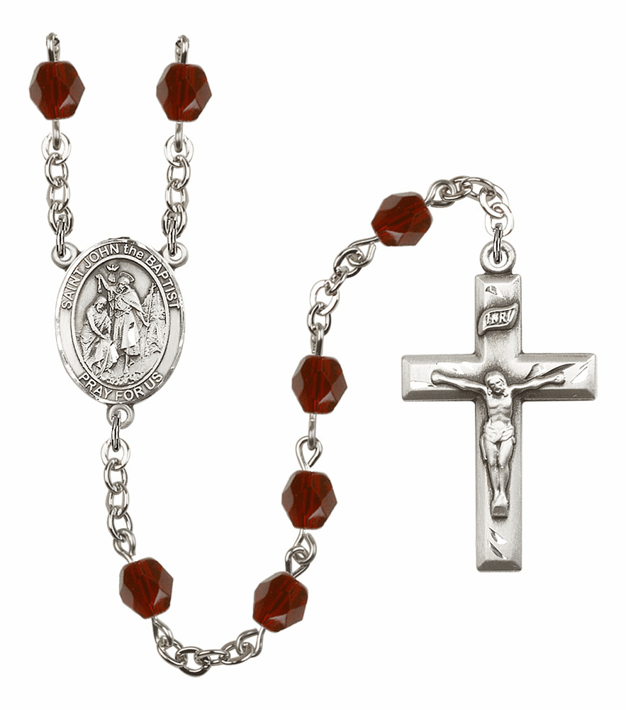 St John the Baptist Silver Plate Birthstone Crystal Prayer Rosary by Bliss
