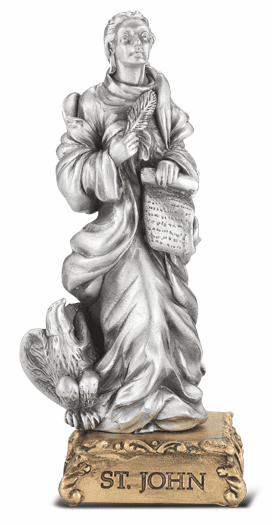 St John the Evangelist Patron Saint Pewter Statue on Gold Tone Base by Hirten