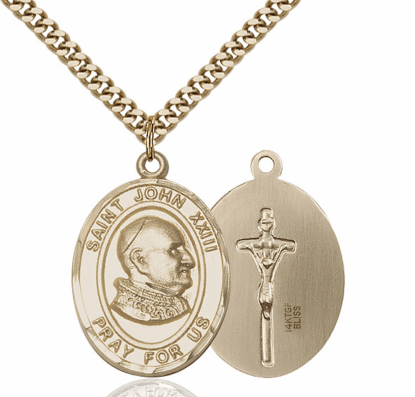 St John XXIII 14kt Gold-filled Saint Pendant Necklace by Bliss Mfg