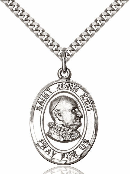 St John XXIII Pewter Saint Pendant Necklace by Bliss Mfg