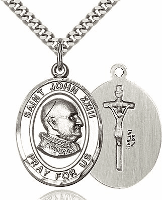 St John XXIII Sterling Silver Saint Pendant Necklace by Bliss Mfg