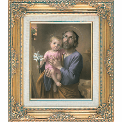 St Joseph and Child Jesus under Glass w/Gold Framed Picture by Cromo N B