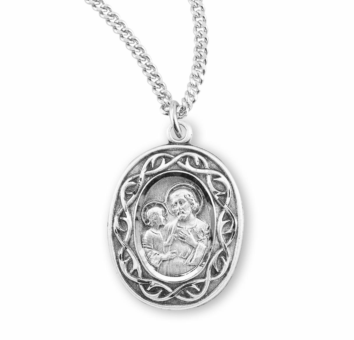St Joseph Crown of Thorns Sterling Silver Medal Necklace by HMH Religious