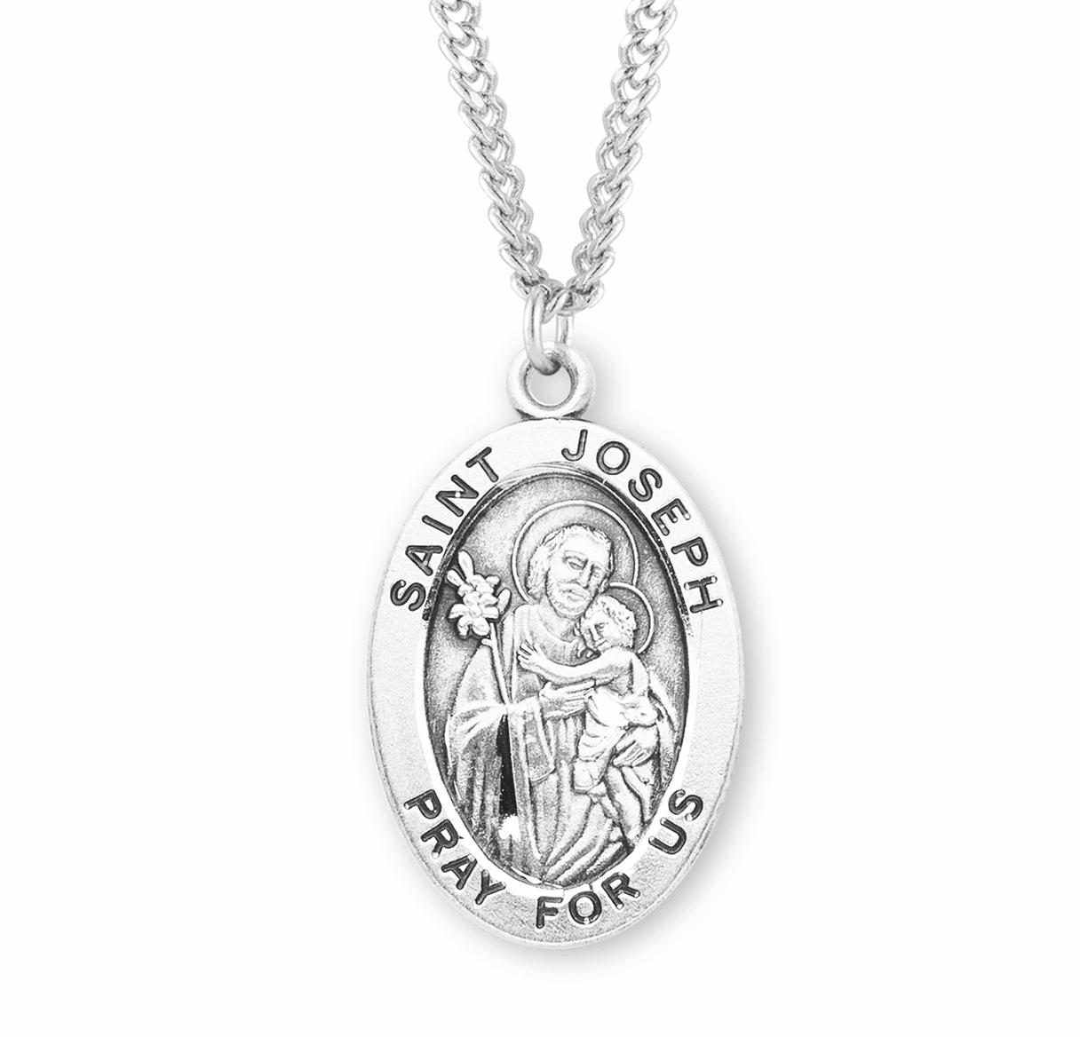 St Joseph Large Oval Sterling Silver Medals by HMH Religious