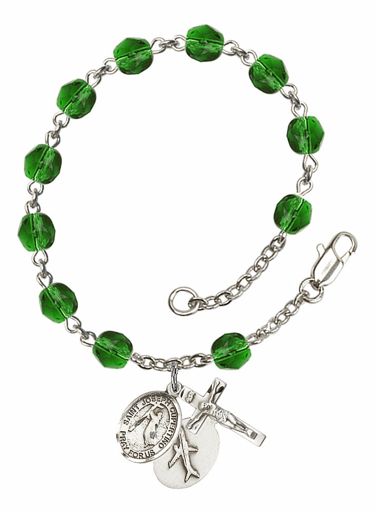 St Joseph of Cupertino Airplane May Emerald Birthstone Rosary Bracelet by Bliss