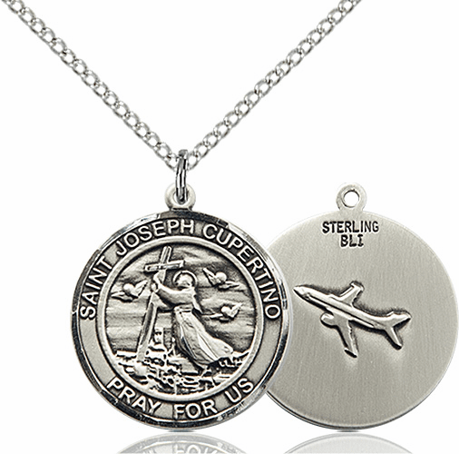 St Joseph of Cupertino Medium Patron Saint Silver-filled Medal by Bliss