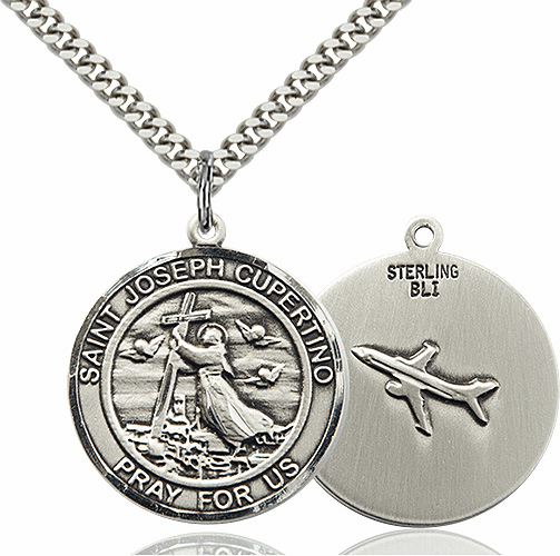 St Joseph of Cupertino Round Patron Saint Medal Necklace by Bliss