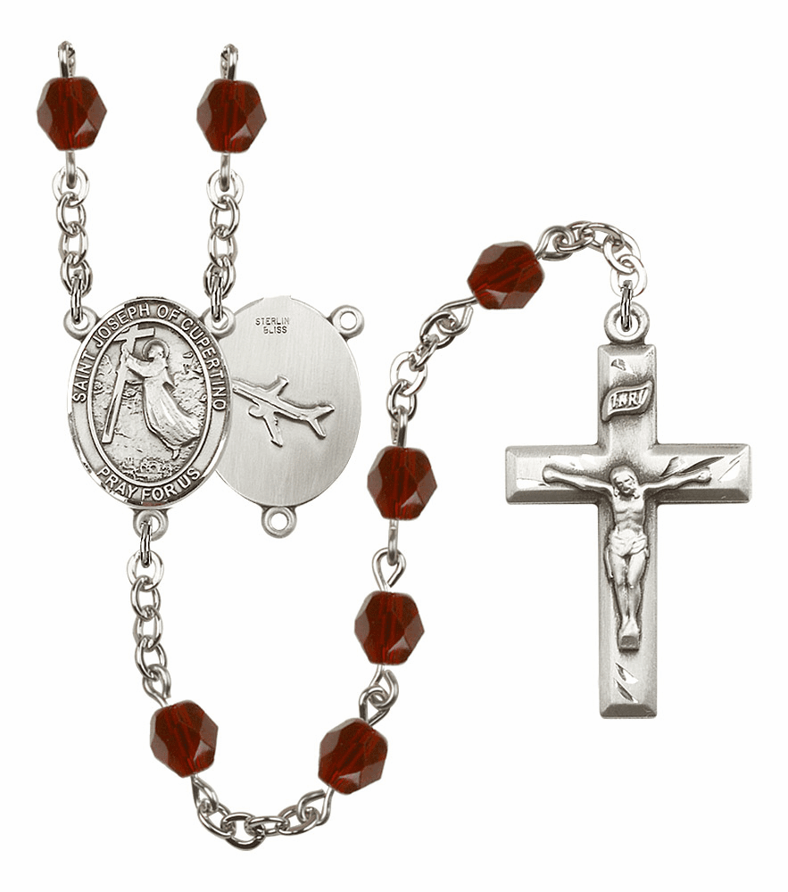 St Joseph of Cupertino Silver Plate Birthstone Crystal Prayer Rosary by Bliss