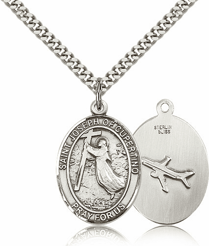 St Joseph of Cupertino Sterling Silver Saint Pendant Necklace by Bliss