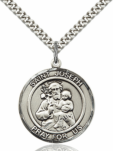 St Joseph Round Patron Saint Medal Necklace by Bliss