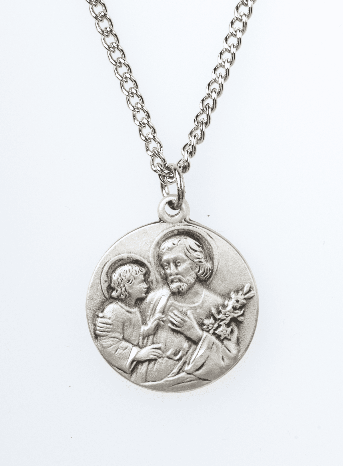 "St Joseph Saint Medal Pendant w/18"" Chain by Jeweled Cross"