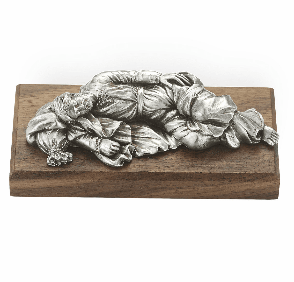 St Joseph Sleeping Pewter Statue on Gold Tone Base by Hirten
