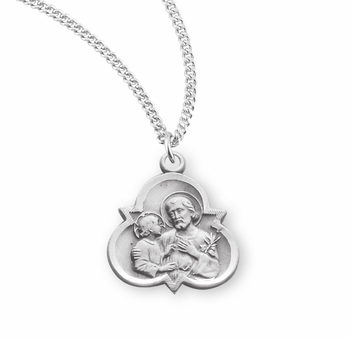 St Joseph Sterling Silver Trinity Medal Necklace by HMH Religious