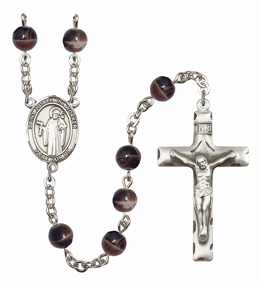 St Joseph the Worker 7mm Brown Gemstone Rosary by Bliss
