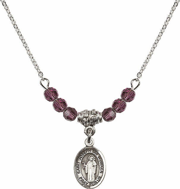 St Joseph the Worker Amethyst Swarovski Beaded Necklace by Bliss Mfg