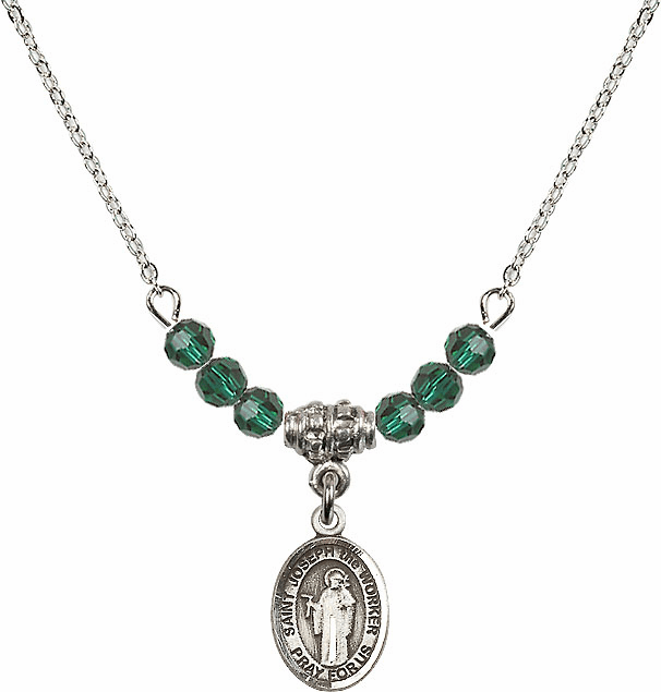 St Joseph the Worker Emerald Swarovski Beaded Necklace by Bliss Mfg