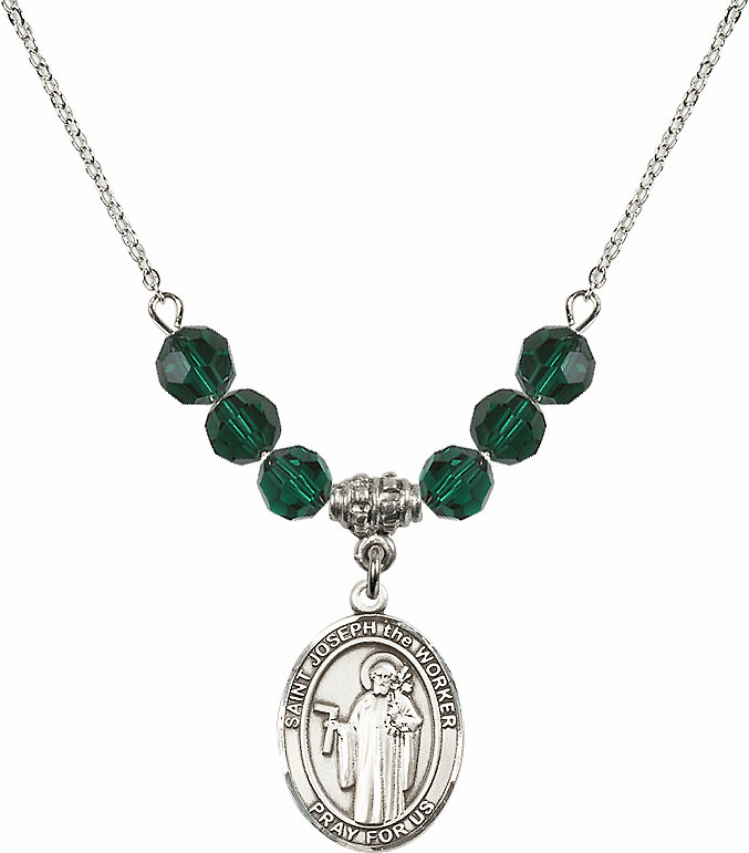 St Joseph the Worker Emerald Swarovski Necklace by Bliss Mfg