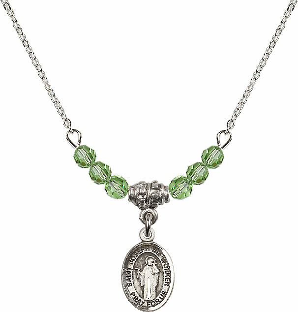 St Joseph the Worker Peridot Swarovski Beaded Necklace by Bliss Mfg