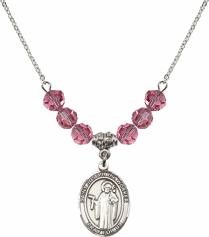 St Joseph the Worker Rose Swarovski Necklace by Bliss Mfg