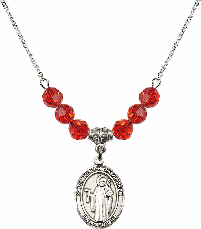 St Joseph the Worker Ruby Swarovski Necklace by Bliss Mfg