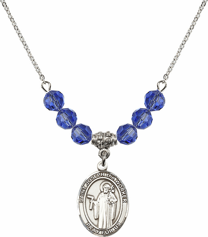 St Joseph the Worker Sapphire Swarovski Necklace by Bliss Mfg