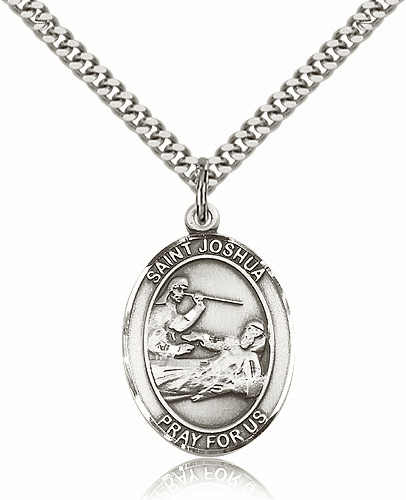 St Joshua Silver-filled Patron Saint Pendant Necklace by Bliss