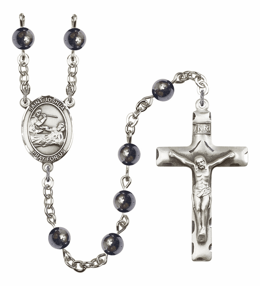 St Joshua 6mm Hematite Gemstone Rosary by Bliss