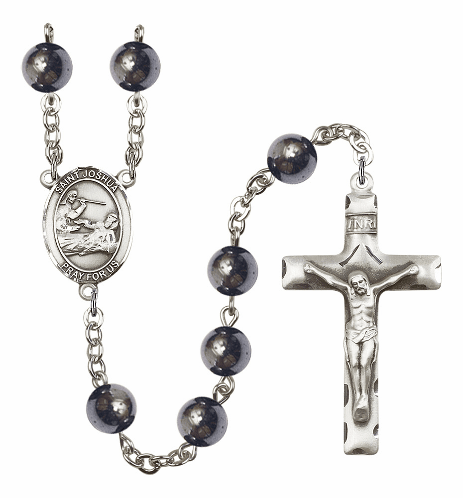 St Joshua 8mm Hematite Gemstone Rosary by Bliss