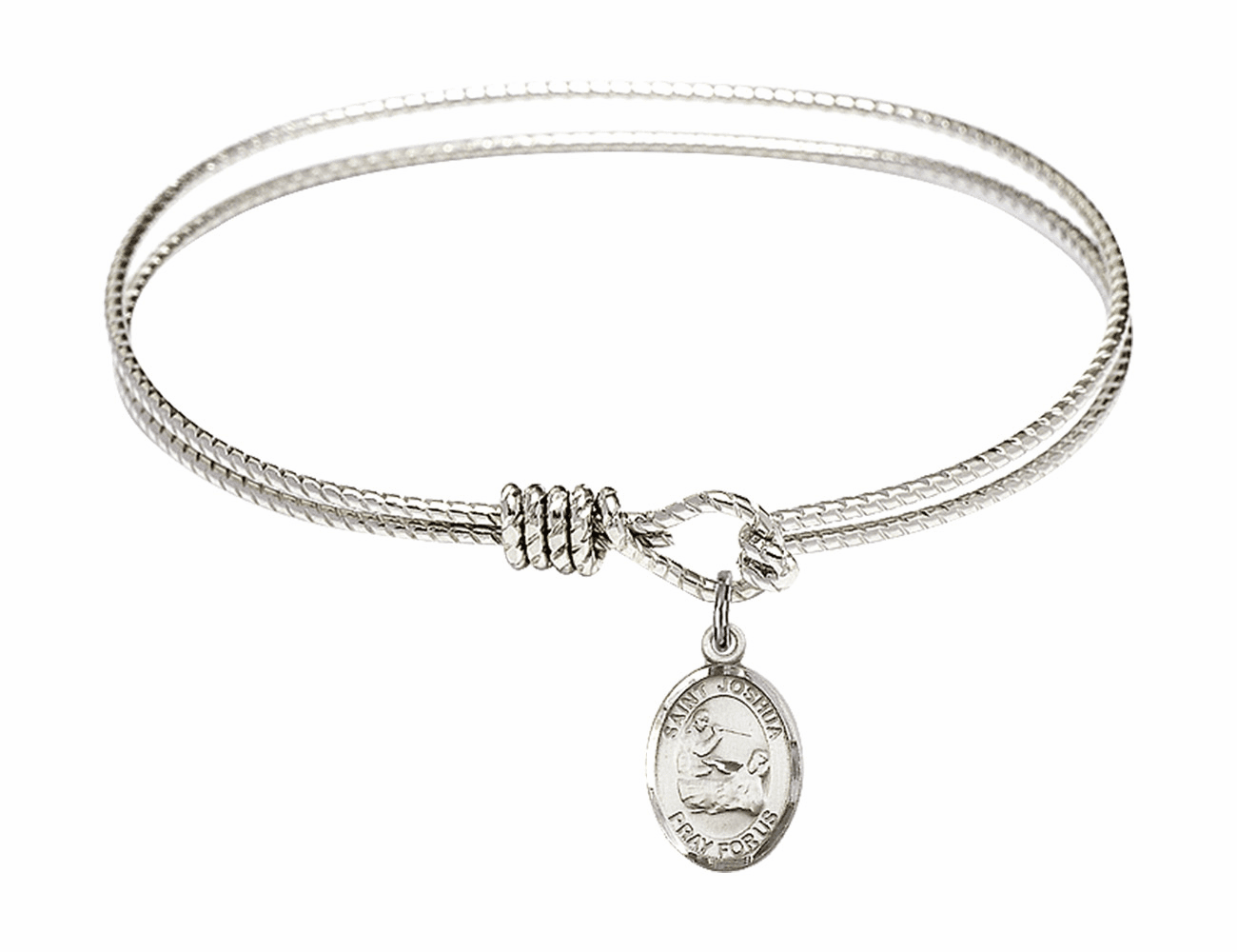 St Joshua Textured Bangle w/Sterling Charm Bracelet by Bliss