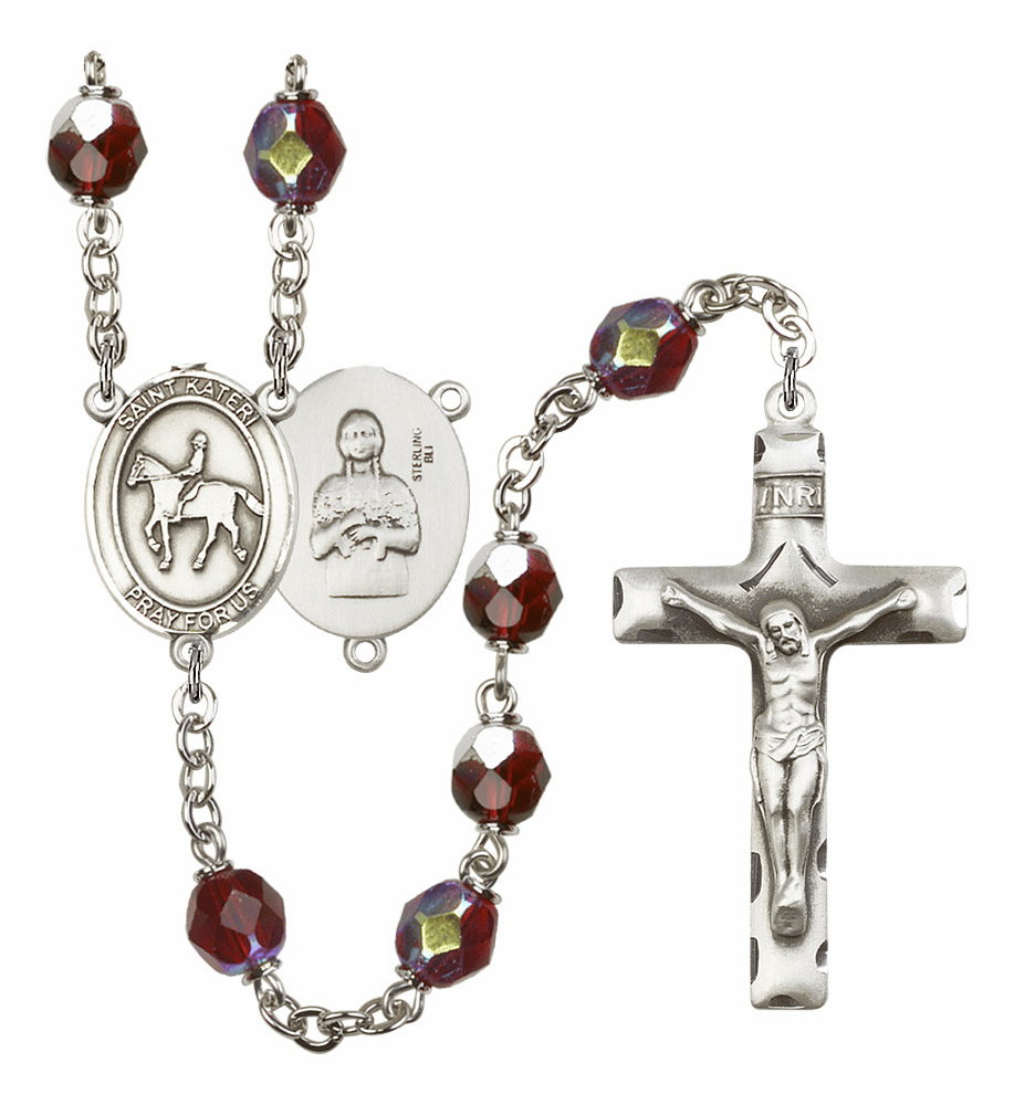 St Kateri Equestrian 7mm Lock Link Aurora Borealis Garnet Beads Prayer Rosary by Bliss Mfg
