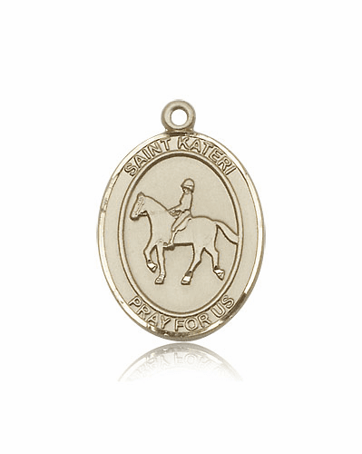 St. Kateri Equestrian Horseback Riding 14kt Gold Medal by Bliss