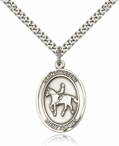 St Kateri Equestrian Horseback Riding Pewter Pendant Necklace