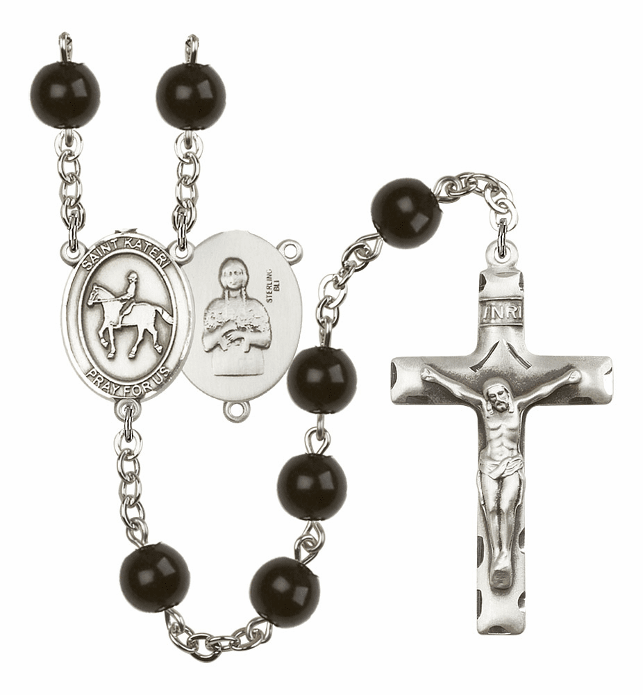 St Kateri Equestrian Silver Plate 7mm Black Onyx  Prayer Rosary by Bliss