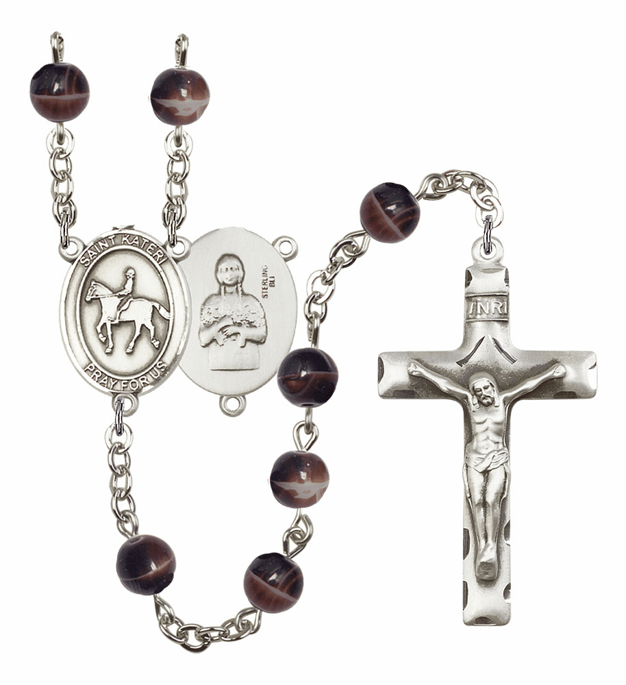 St Kateri Equestrian Silver Plate 7mm Brown Gemstone Prayer Rosary by Bliss