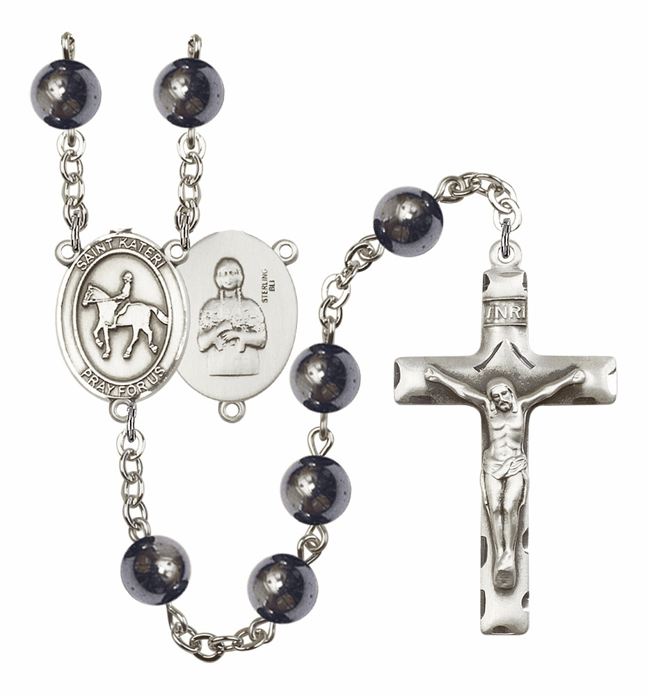 St Kateri Equestrian Silver Plate 8mm Hematite Gemstone Prayer Rosary by Bliss