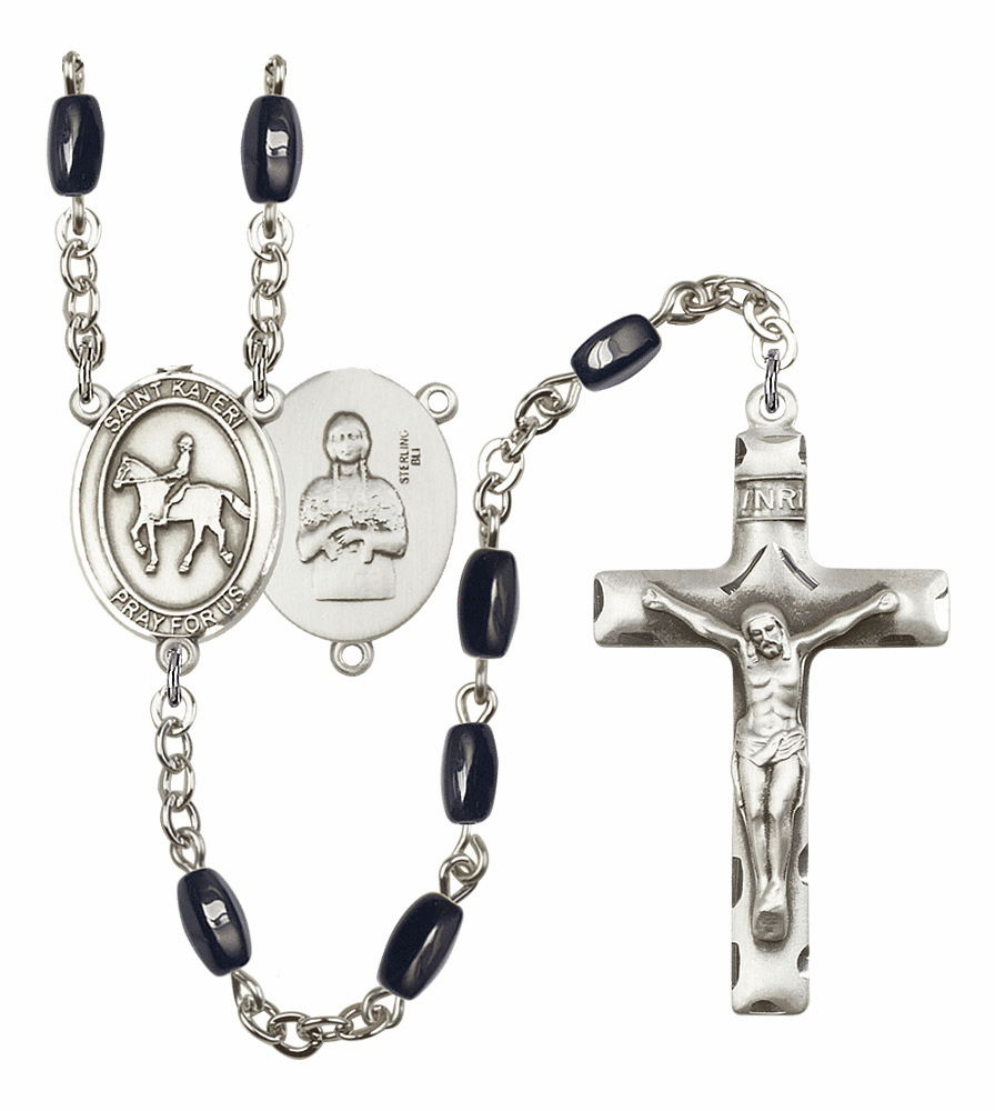 St Kateri Equestrian Silver Plate 8x5mm Black Onyx Gemstone Prayer Rosary by Bliss