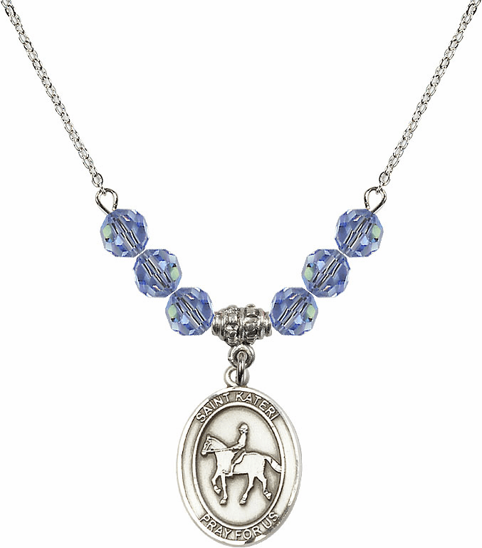 St Kateri Equestrian Swarovski Crystal Beaded Patron Saint Necklace by Bliss Mfg