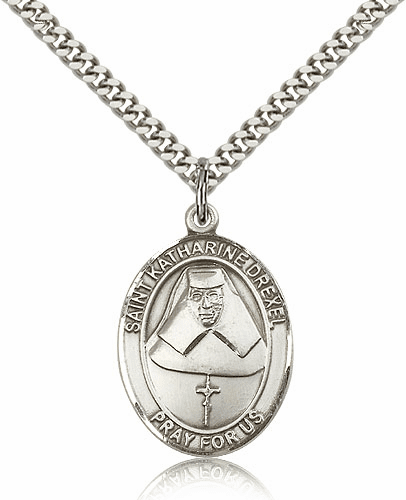 St Katharine Drexel Silver-Filled Patron Saint Necklace by Bliss