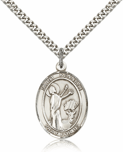 St. Kenneth Patron Saint Medal  Necklace by Bliss