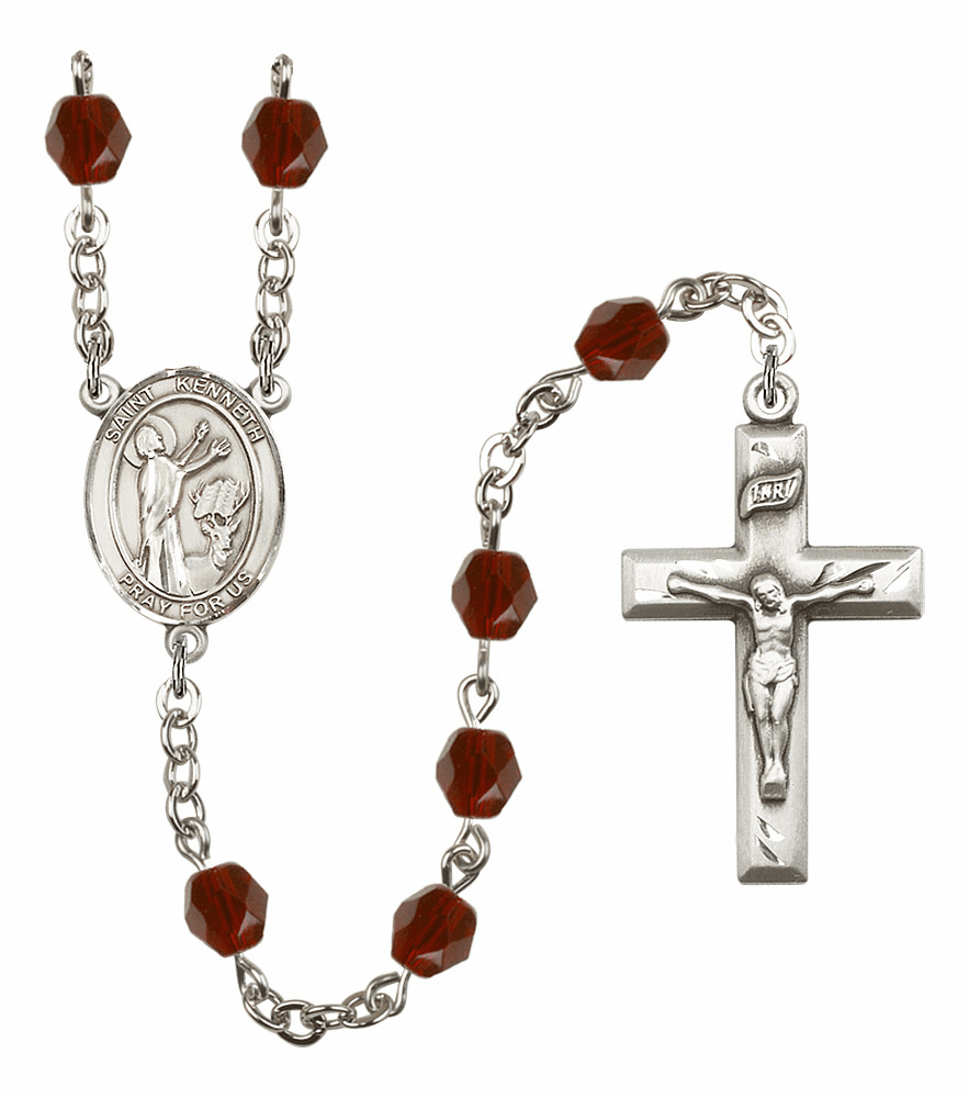 St Kenneth Silver Plate Birthstone Crystal Prayer Rosary by Bliss