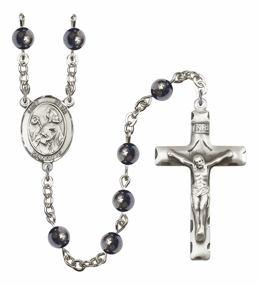 St Kevin 6mm Hematite Gemstone Rosary by Bliss