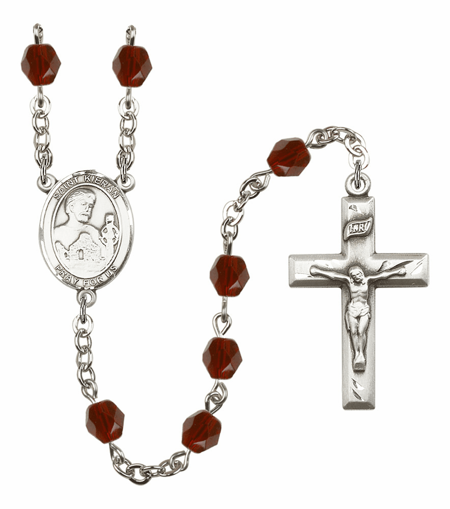 St Kieran Silver Plate Birthstone Crystal Prayer Rosary by Bliss