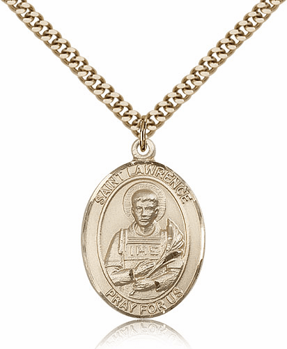 St Lawrence 14kt Gold-Filled Saint Pendant Necklace by Bliss