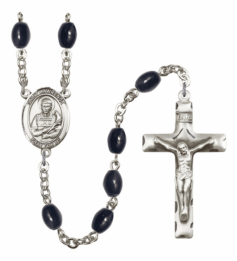 St Lawrence 8x6mm Black Onyx Gemstone Rosary by Bliss