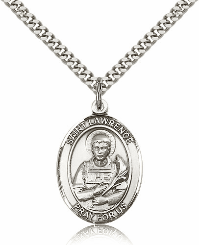 St Lawrence Sterling Patron Saint Pendant Necklace by Bliss