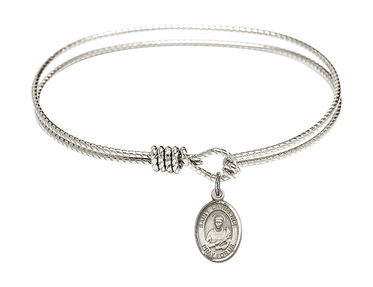 St Lawrence Textured Bangle w/Sterling Charm Bracelet by Bliss